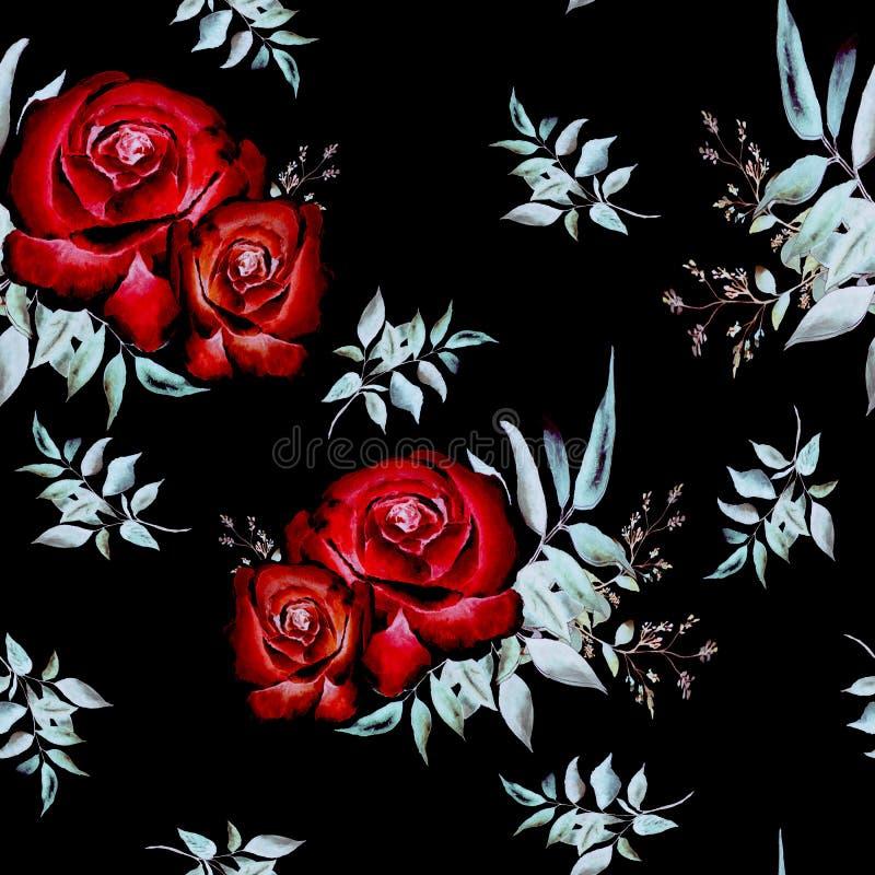 Teste padr?o com rosas ilustração do vetor