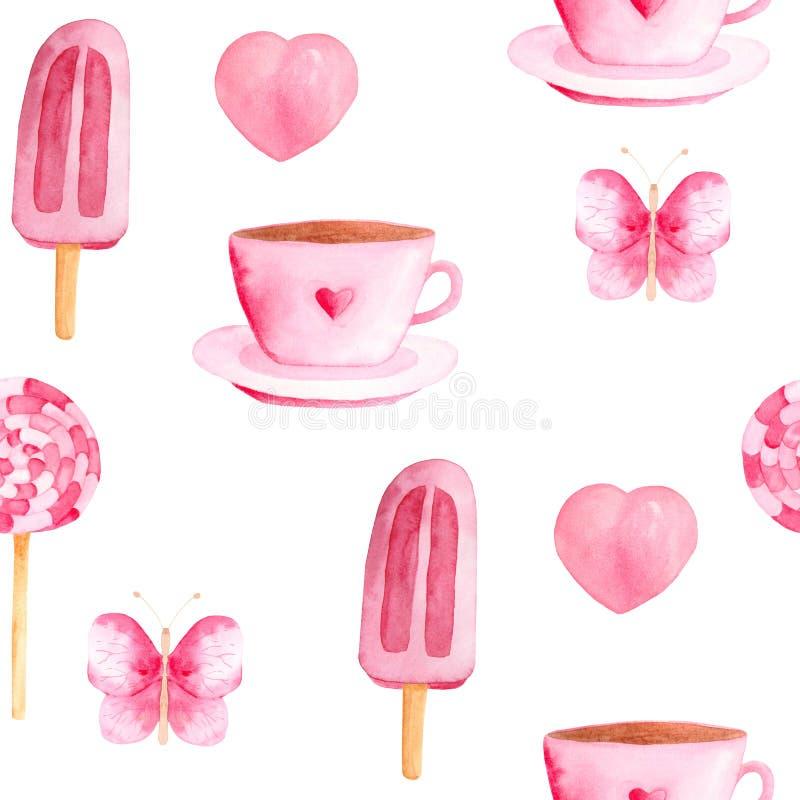 Teste padr?o da aquarela com doces cor-de-rosa ilustração stock