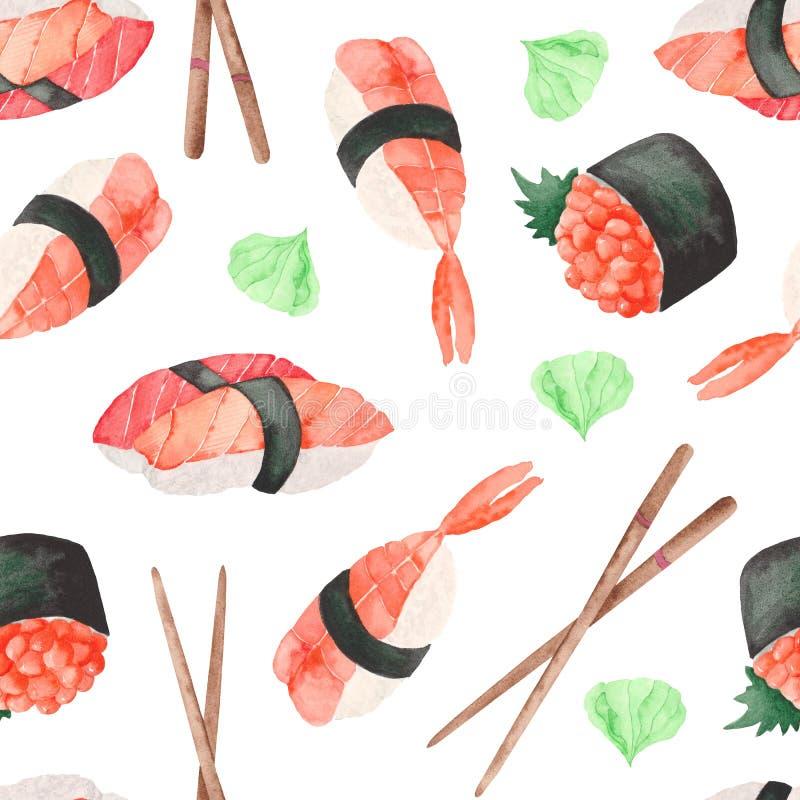 teste padr?o da aquarela com o sushi japon?s do alimento ilustração royalty free