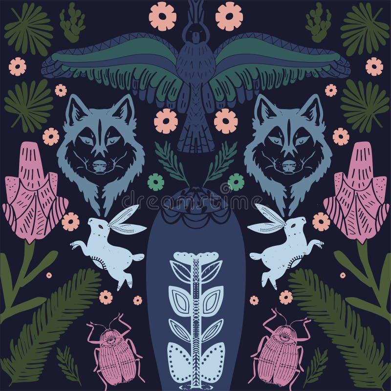 Teste padr?o da arte popular no estilo escandinavo Floral, pássaros, ilustração do vetor das folhas ilustração stock