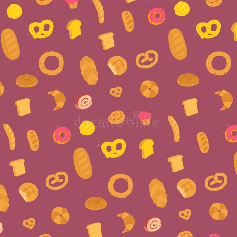 Teste padr?o da padaria Vetor Caráteres com pés Ornamento para o local Entrega da padaria e de confeitos frescos Teste padrão par ilustração stock