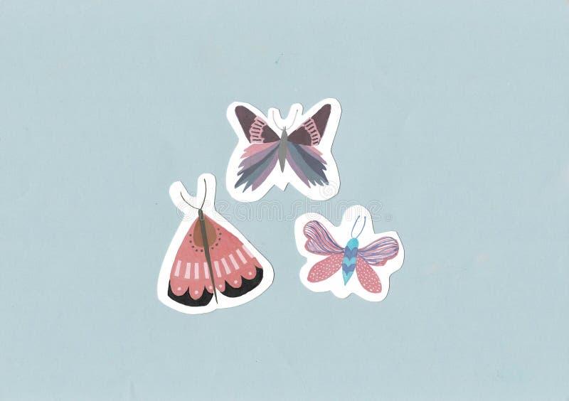 Teste padr?o de borboletas da aquarela Borboletas coloridas bonitos em um fundo da cor Jogo das borboletas doodle ilustração royalty free