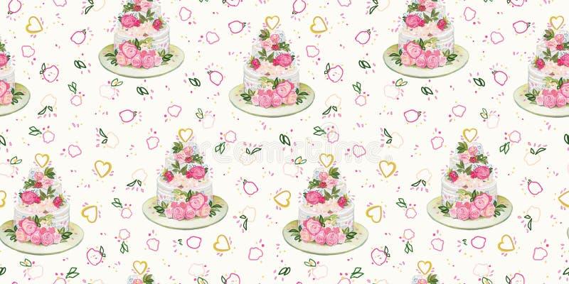 Teste padr?o de creme com bolo e flores de casamento ilustração do vetor
