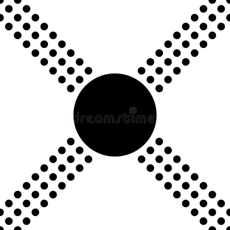 Teste padr?o de ?s bolinhas sem emenda preto e branco sinal transversal ou positivo Ilustra??o do projeto moderno do vetor ilustração royalty free