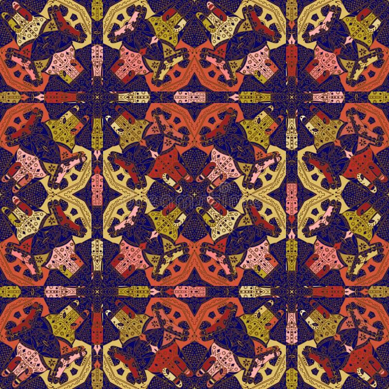 Teste padr?o de Talavera Azulejos Portugal Ornamento turco Mosaico marroquino da telha Porcelana espanhola Utensílios de mesa cer ilustração stock