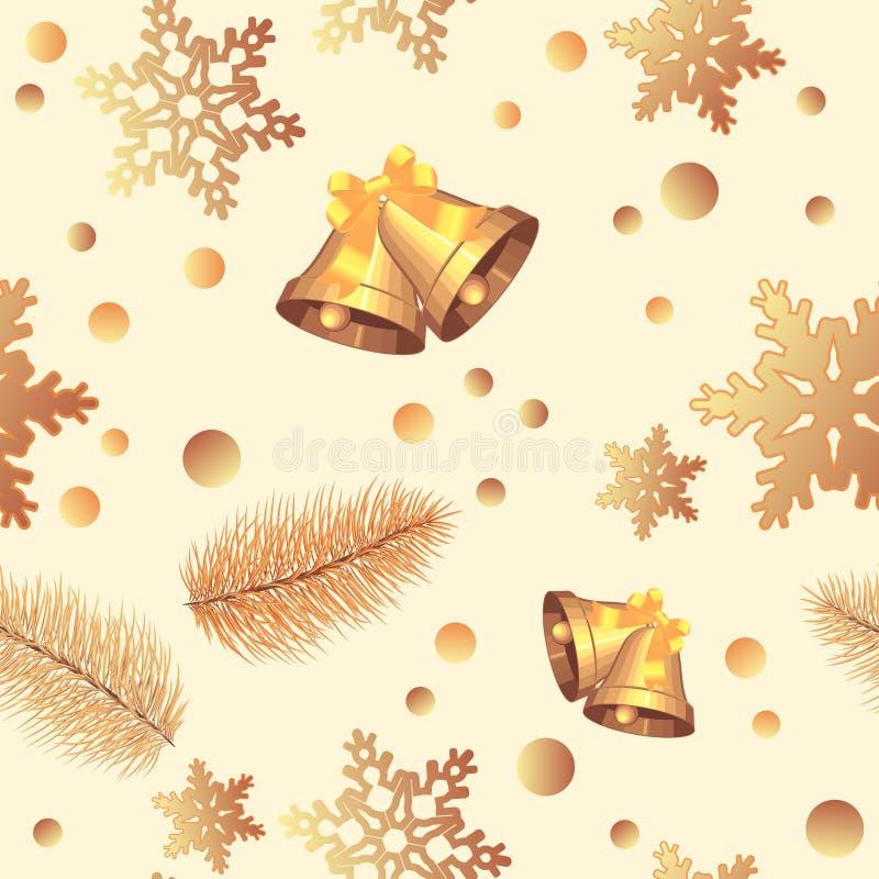 Teste padr?o do Natal Molde do projeto do ano novo feliz com árvore de Natal, floco de neve, ícones dos sinos Teste padr?o sem em ilustração do vetor