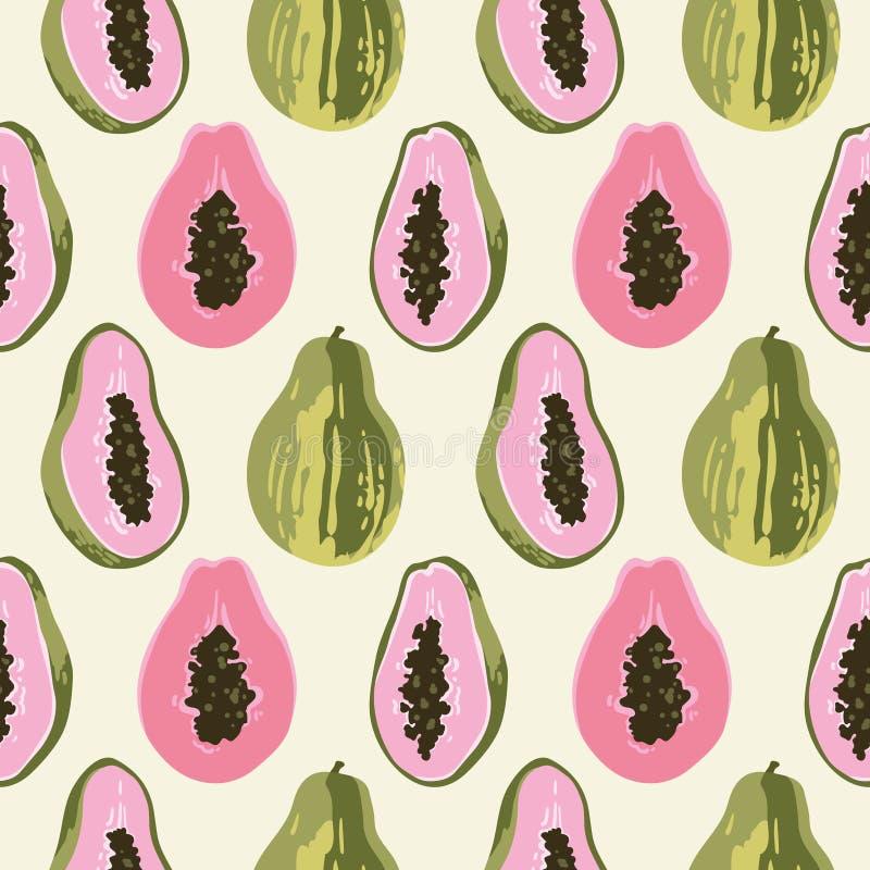 Teste padr?o do ver?o do vetor com papaia Projeto sem emenda da textura fotografia de stock royalty free