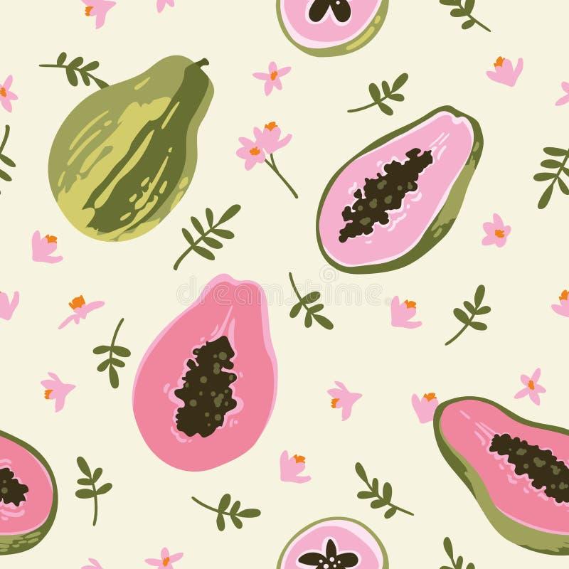 Teste padr?o do ver?o do vetor com papaia Projeto sem emenda da textura imagem de stock royalty free