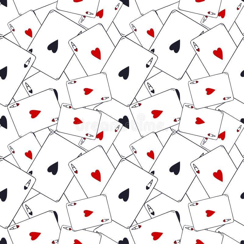 Teste padr?o dos cart?es de jogo Ace do fundo sem emenda dos corações Teste padr?o do jogo de cartas Decora??o moderna do teste p ilustração royalty free