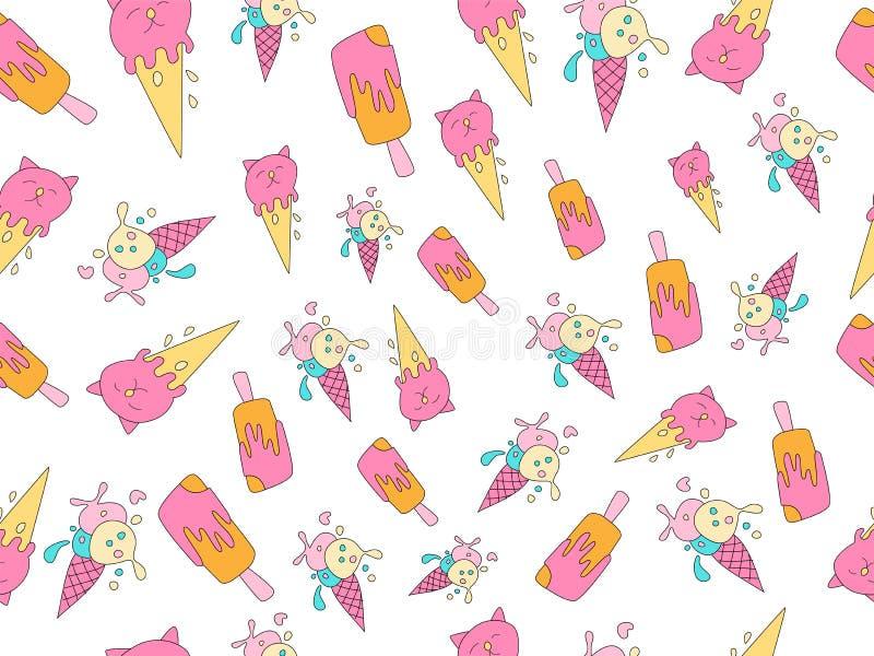 Teste padr?o dos desenhos animados do vetor do gelado O gelado doce, o rosa e as cores amarelas com espirram Teste padr?o sem eme ilustração do vetor