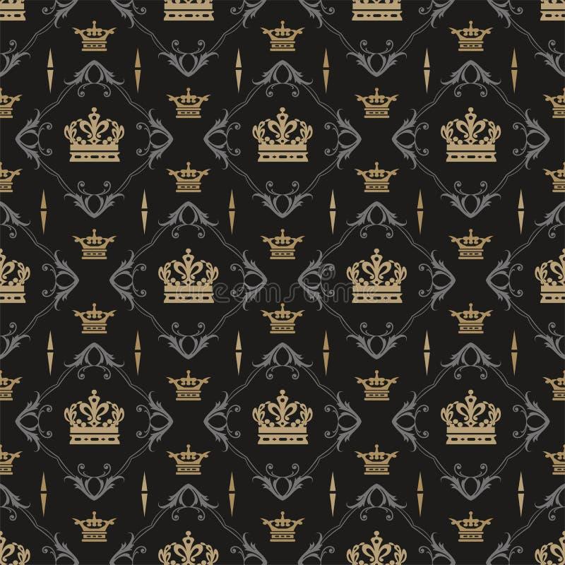 Teste padr?o escuro do fundo Imagem de fundo no estilo real Tamanco sem emenda, textura do papel de parede ilustração royalty free