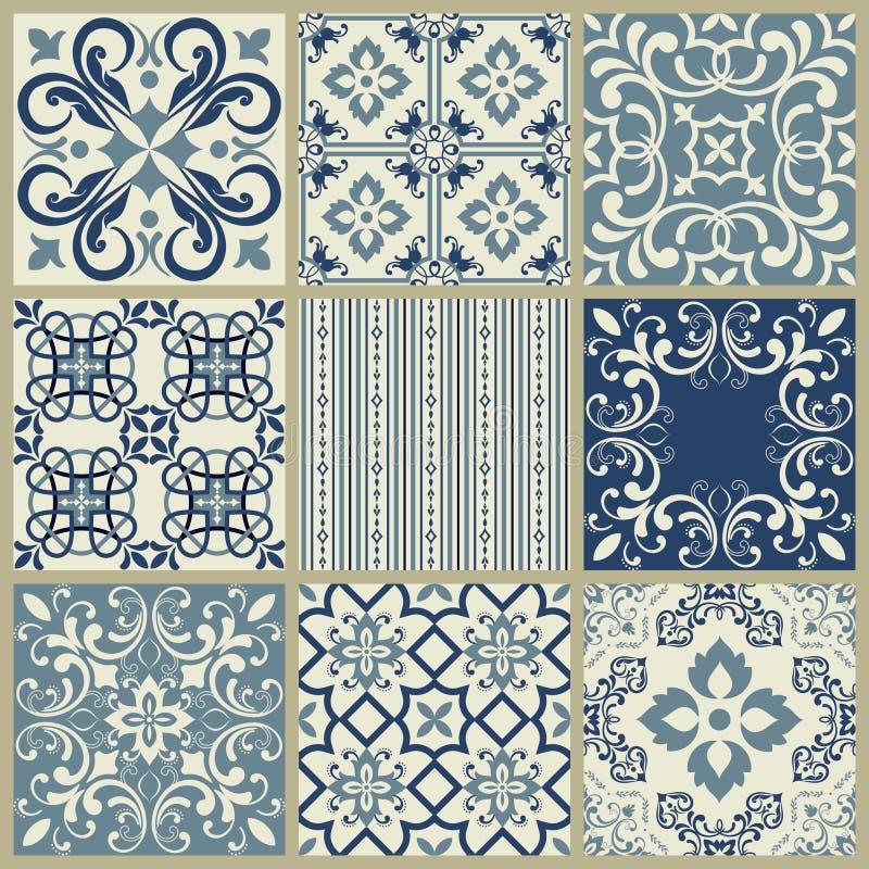 Teste padr?o espanhol ou portugu?s da telha do vetor, mosaico floral de Lisboa, ornamento sem emenda mediterr?neo dos azuis marin ilustração stock