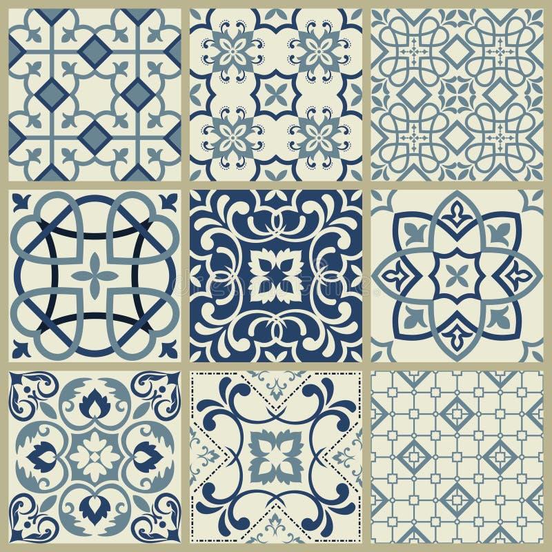 Teste padr?o espanhol ou portugu?s da telha do vetor, mosaico floral de Lisboa, ornamento sem emenda mediterr?neo dos azuis marin ilustração do vetor
