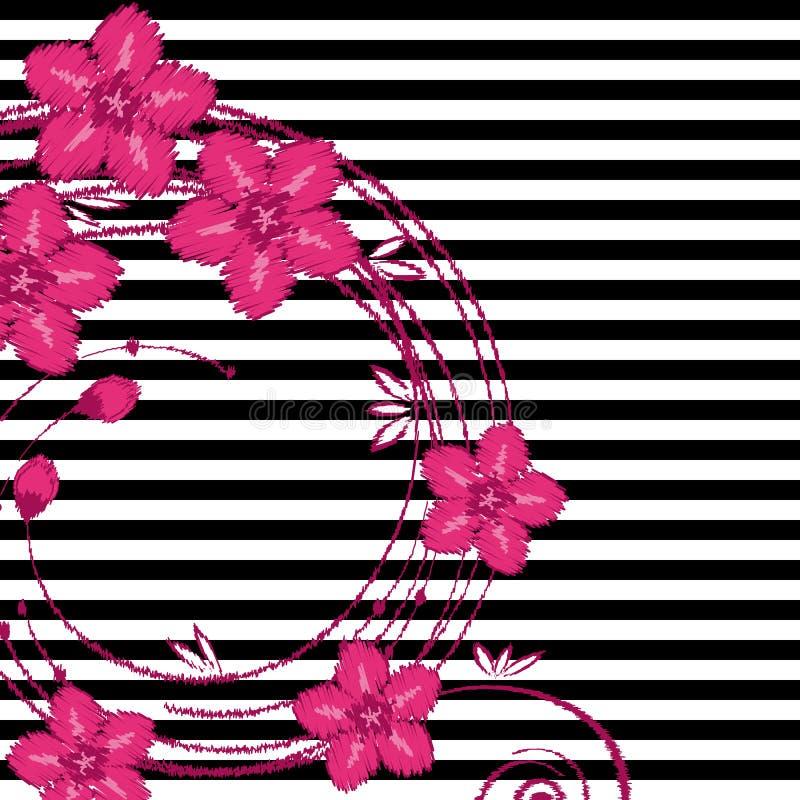Teste padr?o floral do vetor do bordado, ramo da flor ilustração royalty free