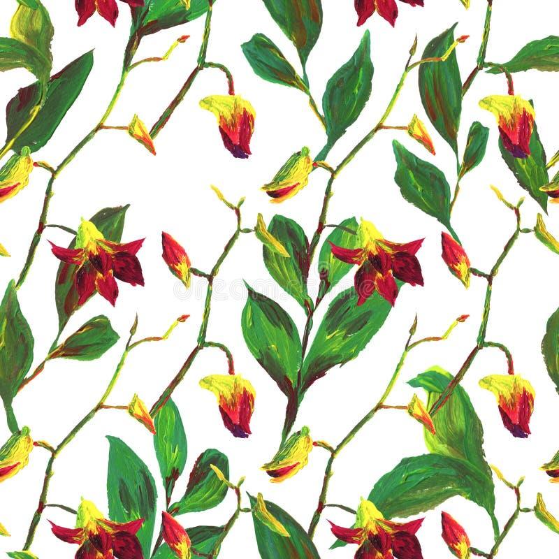 Teste padr?o floral ex?tico sem emenda tropical da forma - flor pintada acr?lica da orqu?dea ilustração stock