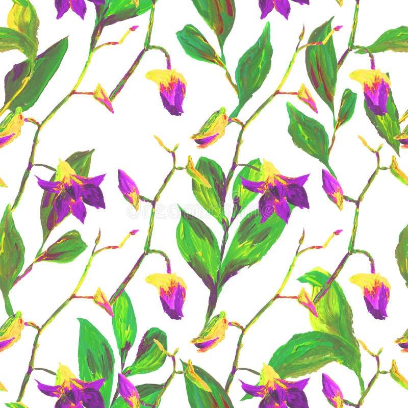Teste padr?o floral ex?tico sem emenda tropical da forma - flor pintada acr?lica da orqu?dea ilustração do vetor