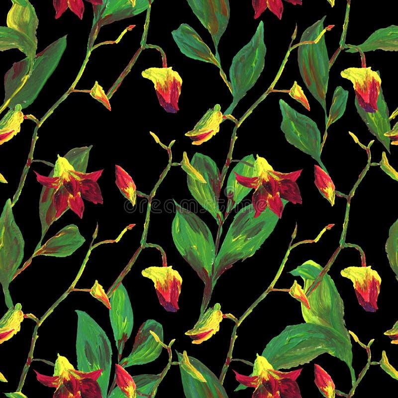 Teste padr?o floral ex?tico sem emenda tropical da forma - flor pintada acr?lica da orqu?dea ilustração royalty free