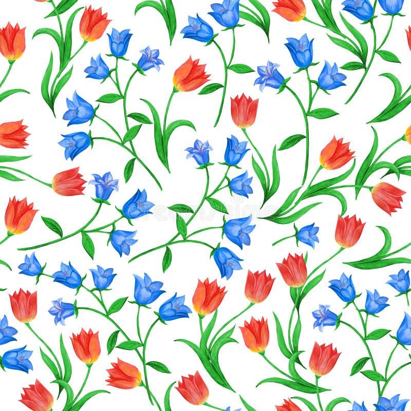 Teste padr?o floral sem emenda bonito Sinos azuis e tulipas vermelhas situados aleatoriamente no fundo branco ilustração stock