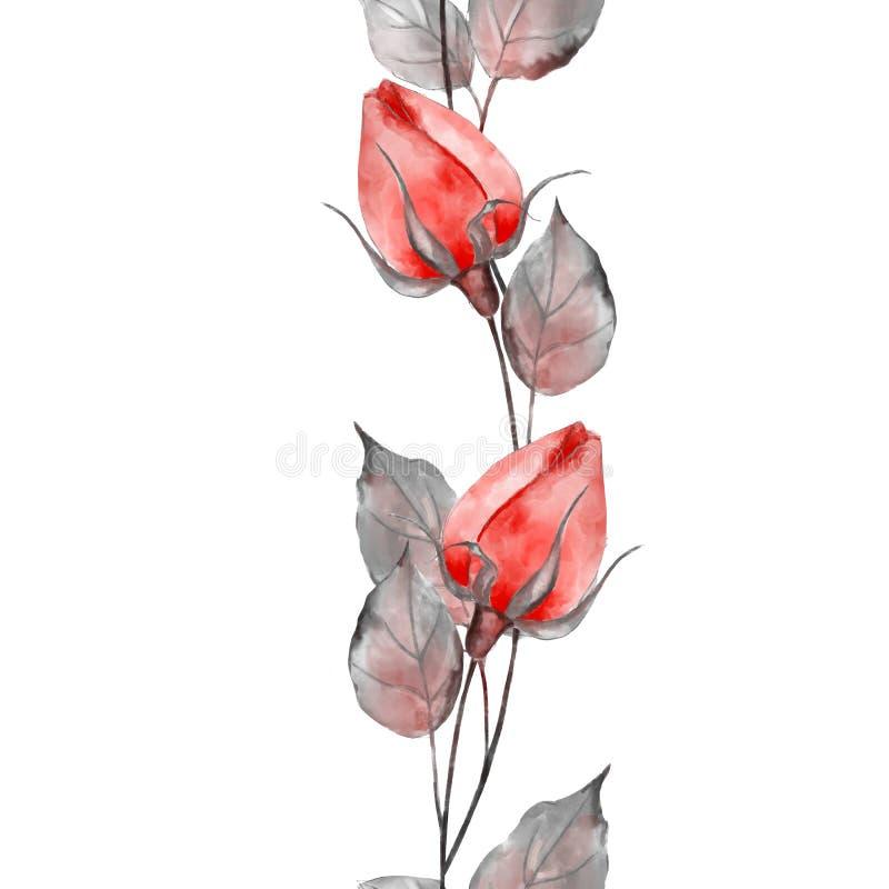 Teste padr?o floral sem emenda com rosas da aquarela ilustração stock