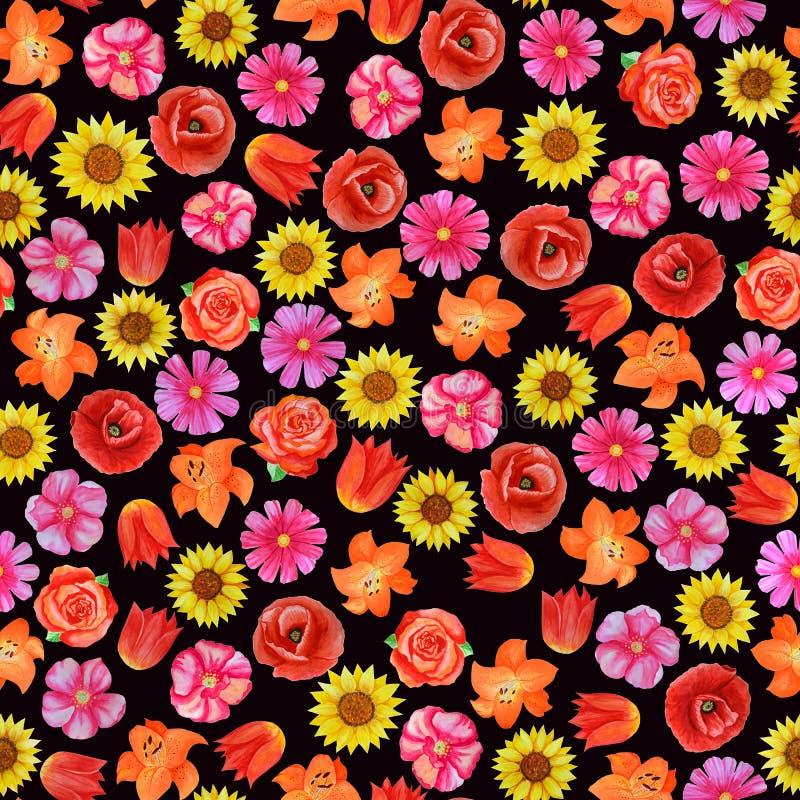 Teste padr?o floral sem emenda no fundo preto Flores brilhantes diferentes ilustração stock