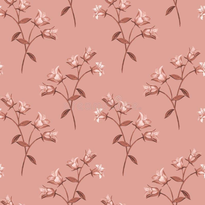 Teste padr?o floral sem emenda simples Onament monocromático da flor em um fundo cor-de-rosa ilustração do vetor