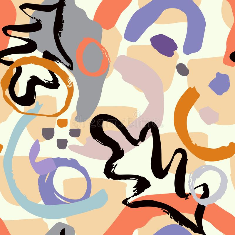 Teste padr?o geom?trico abstrato com linhas onduladas Garatuja backgrounded Fundo sem emenda do vetor ilustração do vetor