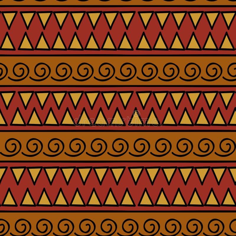 Teste padr?o geom?trico de Ikat com textura tribal do vetor do fundo Motivo listrado sem emenda no s?mbolo asteca ?tnico tirado m ilustração royalty free