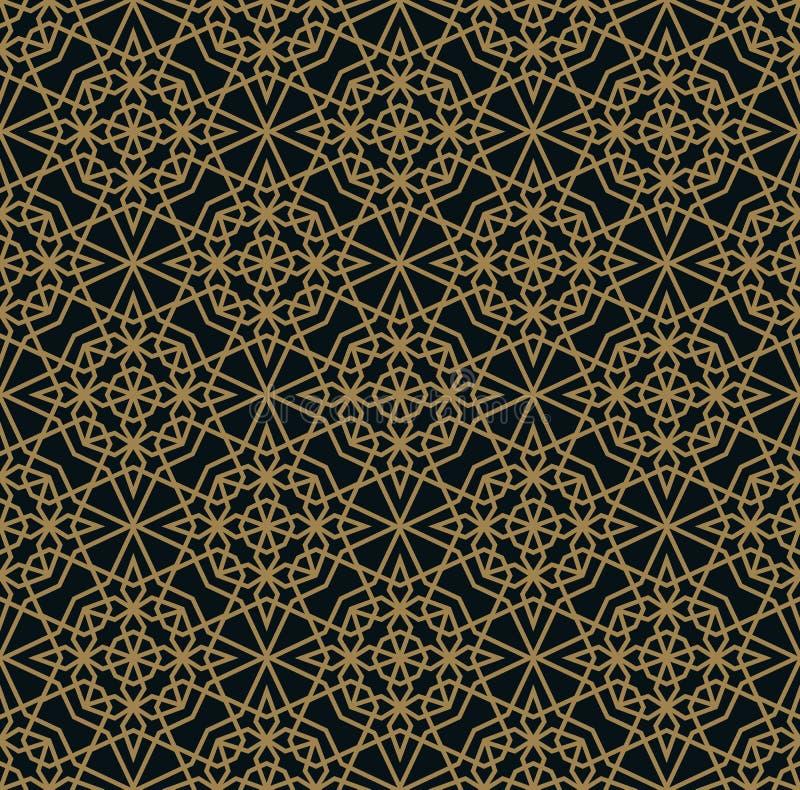 Teste padr?o geom?trico moderno das telhas do vetor forma alinhada dourada Fundo luxuoso sem emenda do deco da arte abstrato ilustração stock