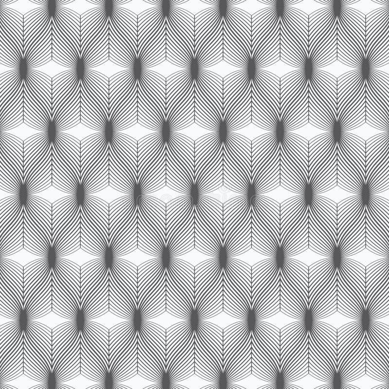 Teste padr?o linear do vetor, repetindo o sum?rio uma folha linear cada um que circunda na forma do hex?gono ilustração royalty free