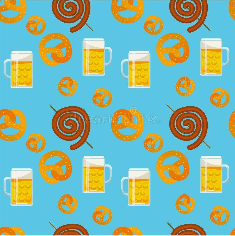 Teste padr?o liso sem emenda do alimento tradicional de Oktoberfest ?cones do festival da cerveja de Oktoberfest S?mbolo de Oktob fotografia de stock royalty free
