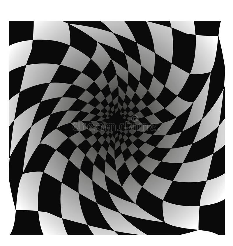 Teste padr?o quadriculado com efeito da distor??o Fundo da xadrez Ilustra??o do vetor ilustração stock
