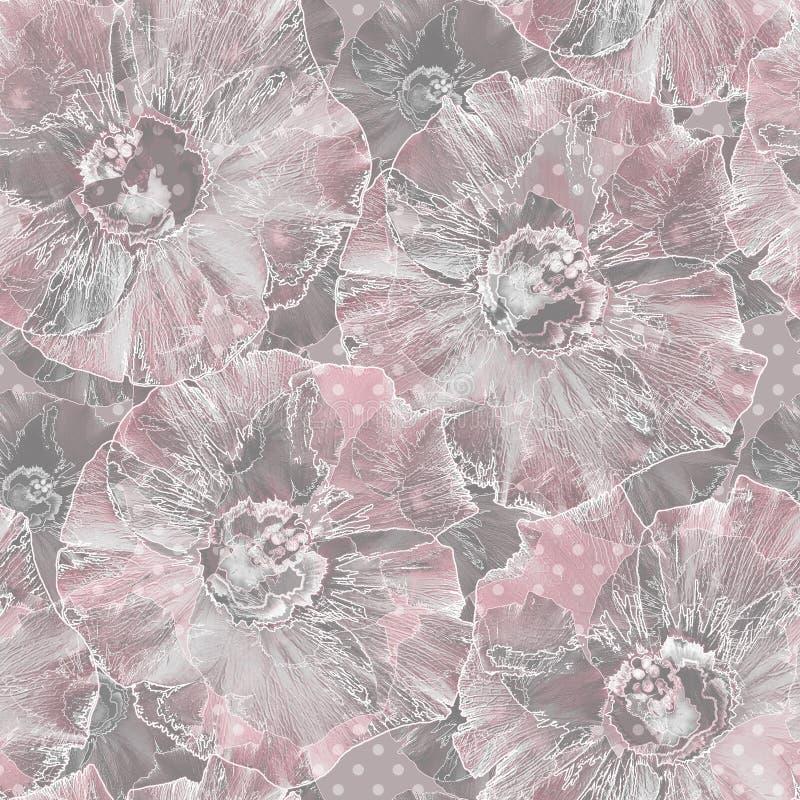 Teste padr?o retro floral sem emenda Flores cor-de-rosa em Grey Background ilustração royalty free