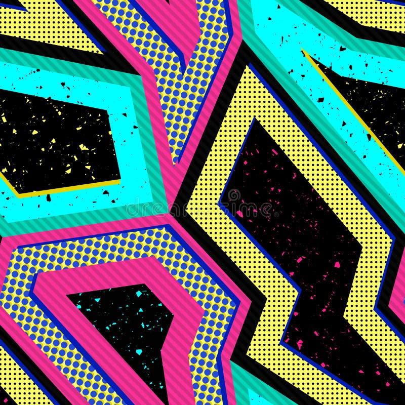 Teste padr?o sem emenda abstrato do vetor com formas geom?tricas Projeto retro do estilo 90s ilustração stock