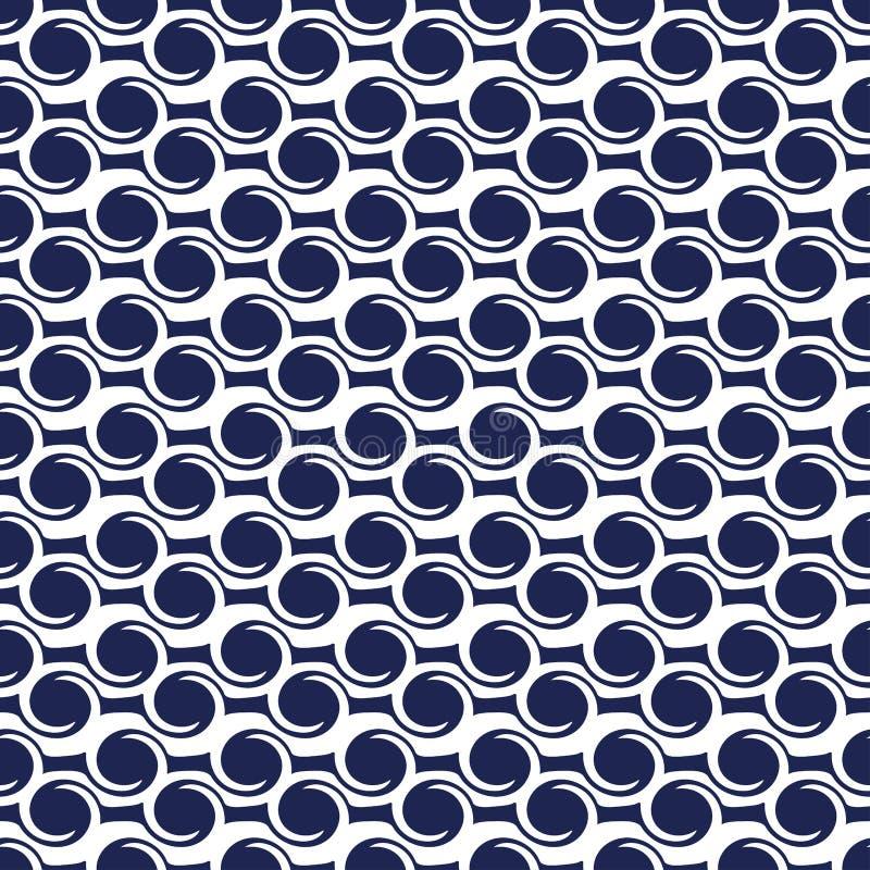 Teste padr?o sem emenda abstrato Fundo sem emenda do vetor de onda Textura azul e branca Teste padr?o gr?fico com c?rculos e linh ilustração do vetor