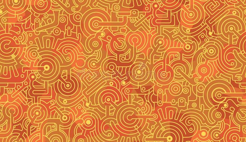 Teste padr?o sem emenda abstrato mec?nico Ilustra??o Amarelo, vermelho ilustração stock
