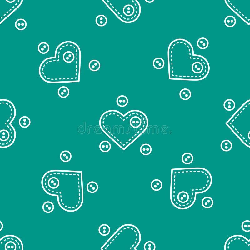 Teste padr?o sem emenda bonito com as caixas da agulha na forma dos cora??es e dos bot?es Molde para o projeto, tela, c?pia Dia d ilustração do vetor