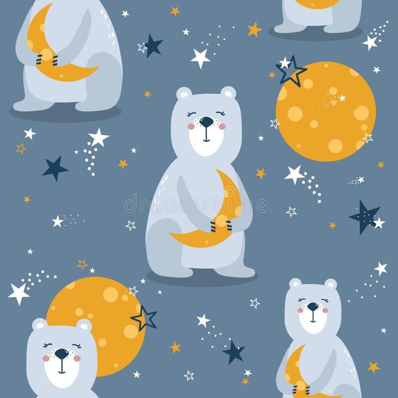 Teste padr?o sem emenda colorido com ursos, lua, estrelas Fundo bonito decorativo com animais, céu noturno ilustração stock