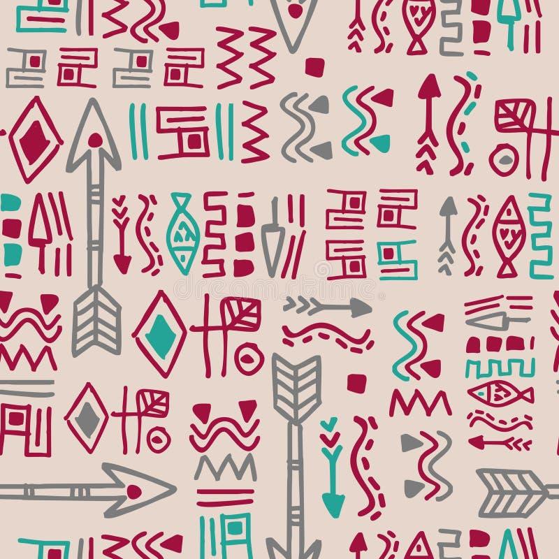 Teste padr?o sem emenda colorido ?tnico Estilo antigo tirado mão do vintage do maya da garatuja ilustração royalty free