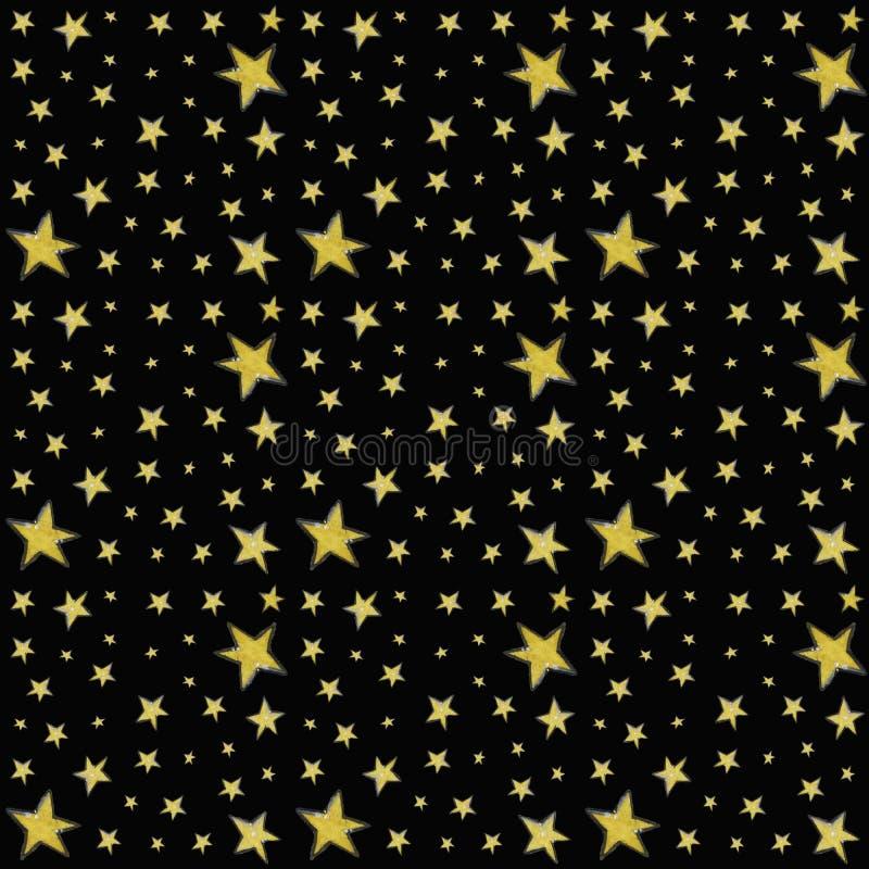 Teste padr?o sem emenda com as estrelas no preto imagem de stock