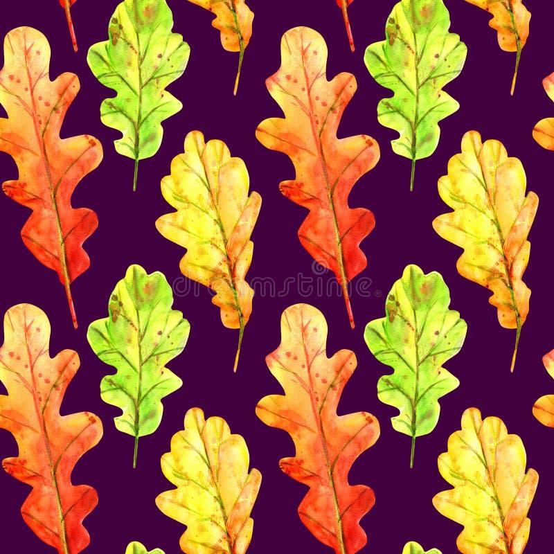 Teste padr?o sem emenda com as folhas do carvalho do outono fotografia de stock royalty free