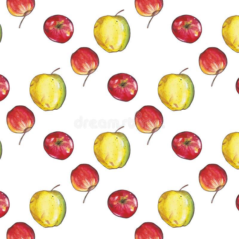Teste padr?o sem emenda com as ma??s vermelhas e amarelas ilustração do vetor