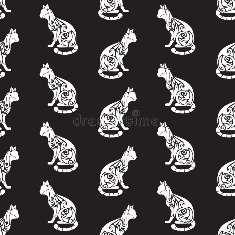 Teste padr?o sem emenda com as silhuetas bonitos ornamentados decorativas do gato Textura para pap?is de parede, tela, envolt?rio ilustração stock