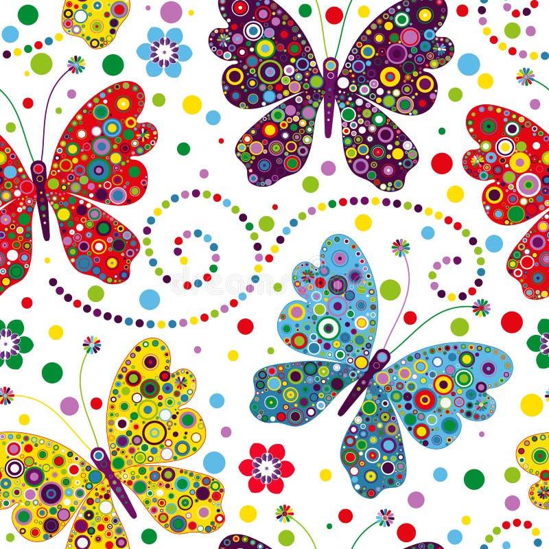 Teste padr?o sem emenda com borboletas e as flores coloridas ilustração do vetor