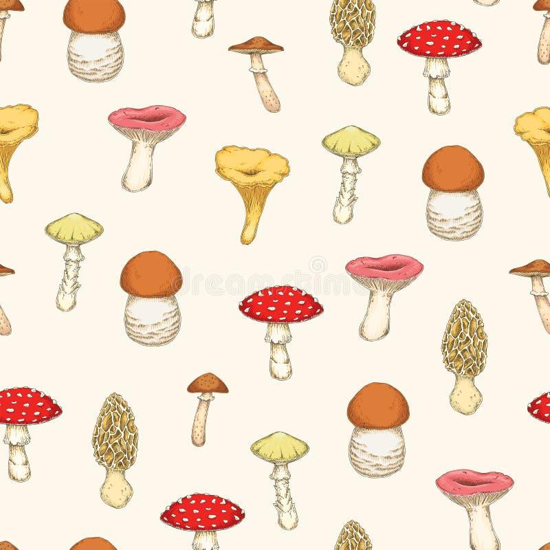 Teste padr?o sem emenda com cogumelos ilustração do vetor