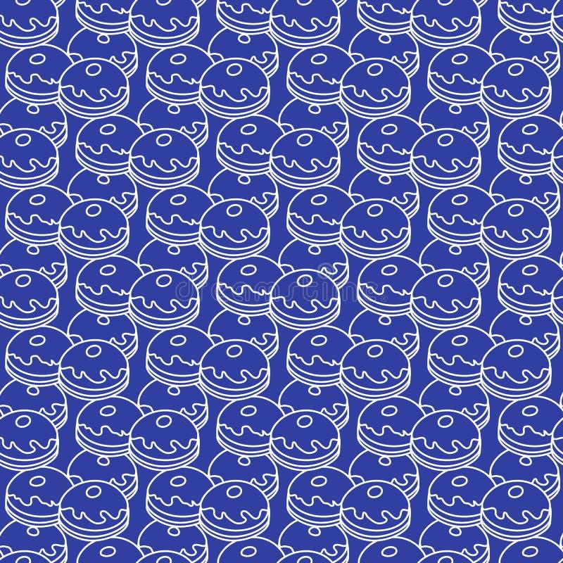 Teste padr?o sem emenda com an?is de espuma, Sufganiyah Alimento popular para o Hanukkah Feriado judaico Hanukkah ilustração royalty free
