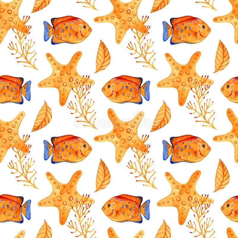 Teste padr?o sem emenda com estrela do mar marinha Fundo da aguarela Pode ser usado para a tela, papel de parede, bandeira, bloco fotografia de stock