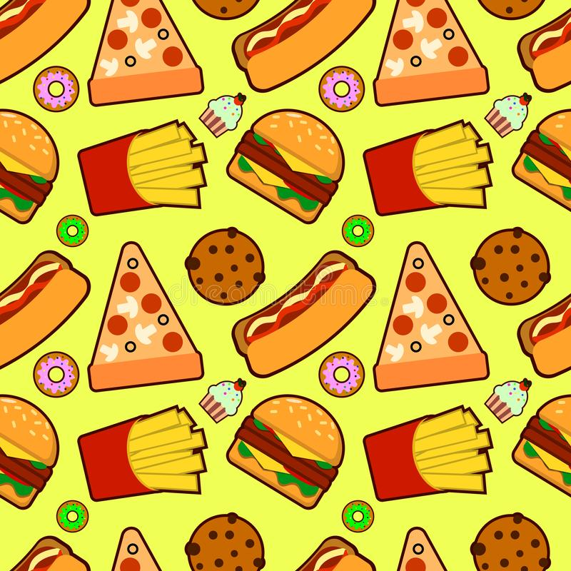 Teste padr?o sem emenda com fast food americano Divertimento e fundo amarelo brilhante Papel de parede com um p? saboroso da imag ilustração do vetor
