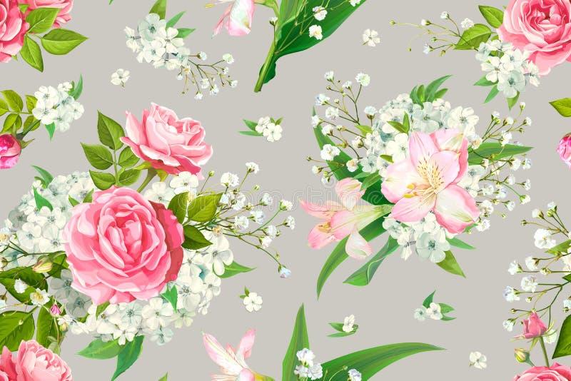 Teste padr?o sem emenda com flores cor-de-rosa ilustração stock