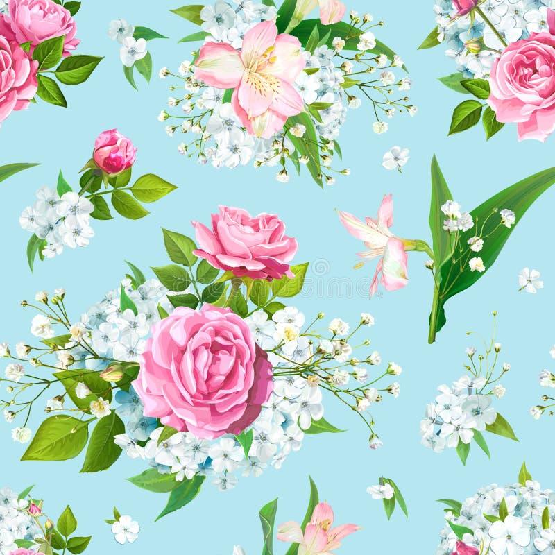 Teste padr?o sem emenda com flores cor-de-rosa ilustração royalty free
