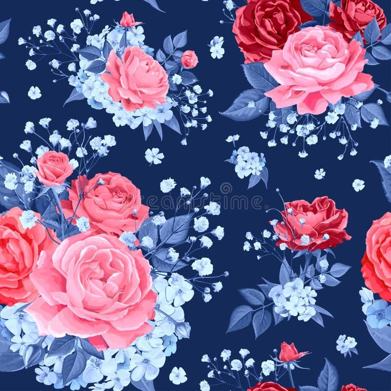 Teste padr?o sem emenda com flores cor-de-rosa ilustração do vetor